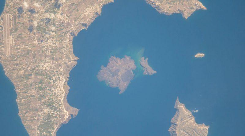 La isla de Santorini (Grecia) desde la Estación Espacial Internacional