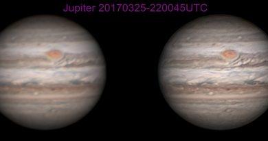 Imágenes de Júpiter tomadas el 25 de marzo de 2017