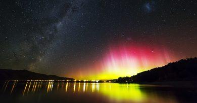 Auroras australes, la Vía Láctea y las Nubes de Magallanes