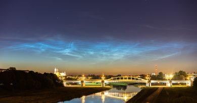 Nubes noctilucentes desde Poznań, Polonia