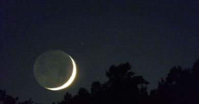 La Luna creciente desde Carolina del Norte, Estados Unidos