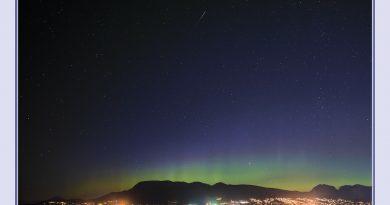 Auroras boreales y un meteoro desde la Columbia Británica, Canadá