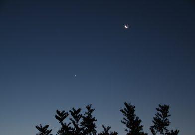 La Luna y Venus desde Arenys de Munt, Barcelona