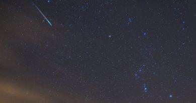 Un meteoro y la constelación de Orión desde Lituania