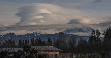 Nubes lenticulares al amanecer en Washington, Estados Unidos
