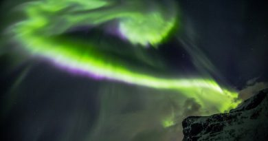 Auroras boreales desde la isla de Kvaløya, Noruega