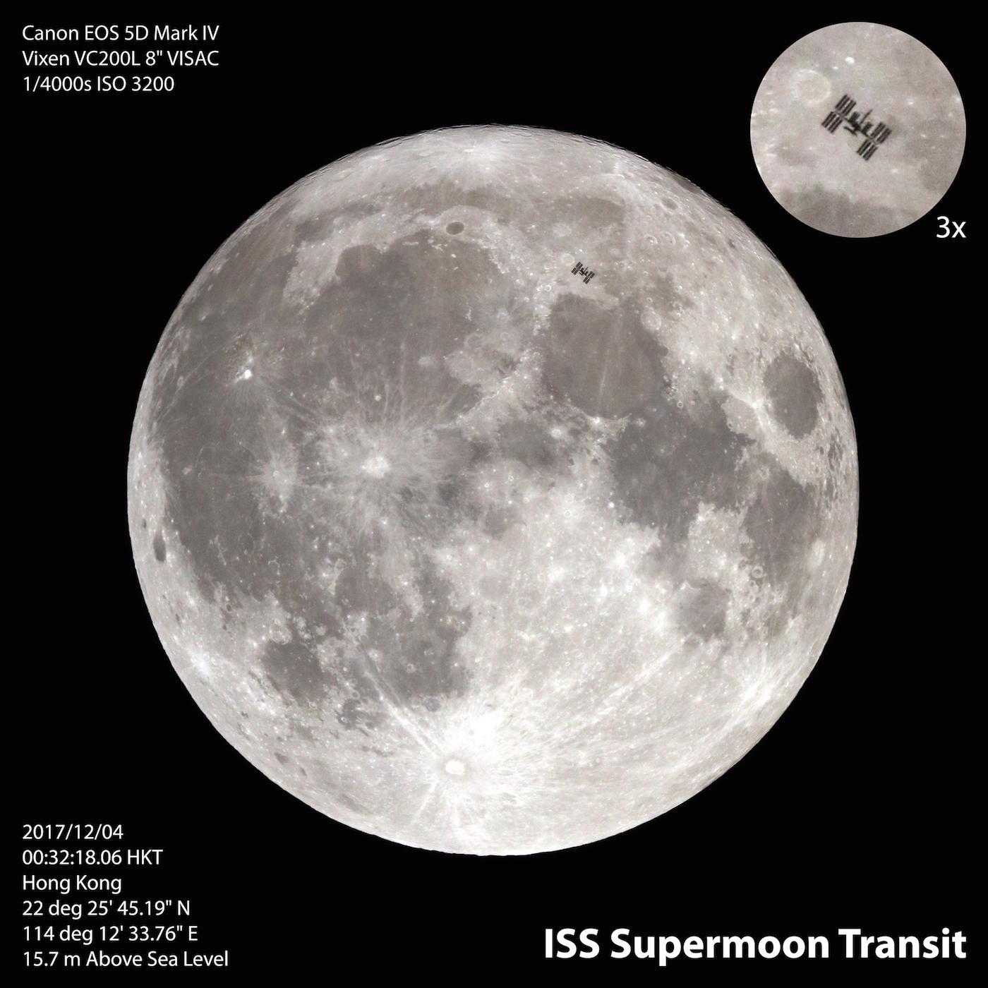 La Luna y la Estación Espacial Internacional desde Hong
