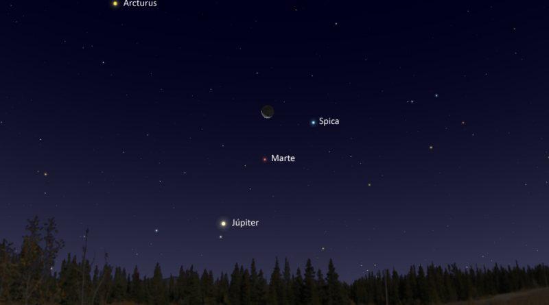 La conjunción de la Luna, Marte y Spica será visible antes del amanecer del 13 de diciembre