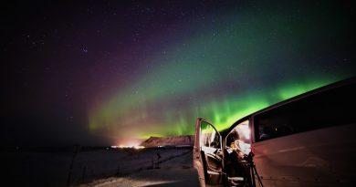 Auroras boreales desde Hvalfjörður, Islandia
