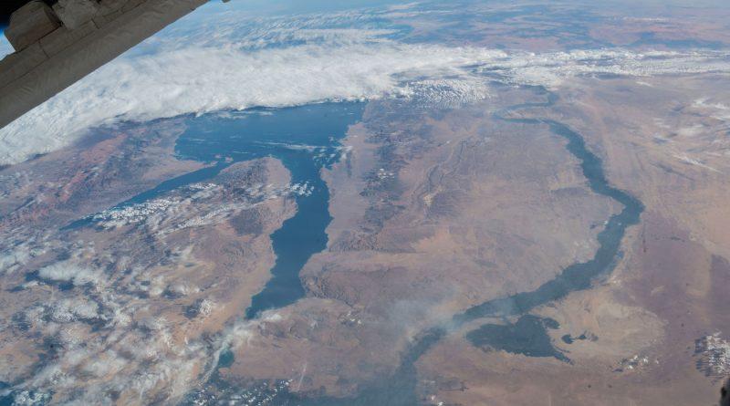 El mar Rojo y el río Nilo desde la Estación Espacial Internacional
