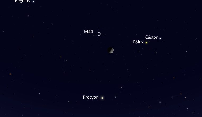 La conjunción de la Luna y el cúmulo M44 será visible esta noche