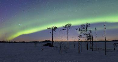 Auroras boreales y las Pléyades desde Toholampi (Finlandia)