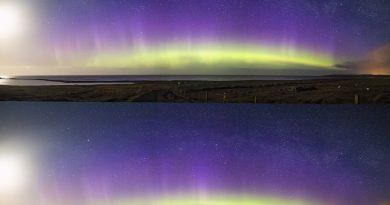 Auroras boreales, la Luna y la Vía Láctea desde la isla de Lewis (Escocia)