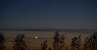 La conjunción de la Luna y Venus desde Sajonia, Alemania