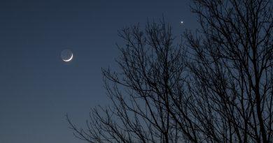 Imagen de la Luna creciente y Venus desde Kentucky, EE. UU.