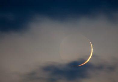 La Luna creciente fotografiada desde Puławy, Polonia