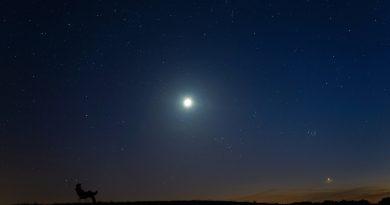 La Luna, las Pléyades y Venus desde Szubin, Polonia