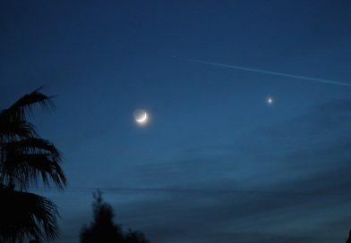 Venus y la Luna desde California, Estados Unidos