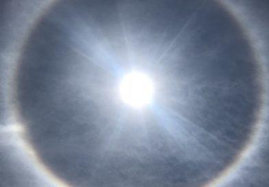 Halo solar fotografiado desde Tegucigalpa, Honduras