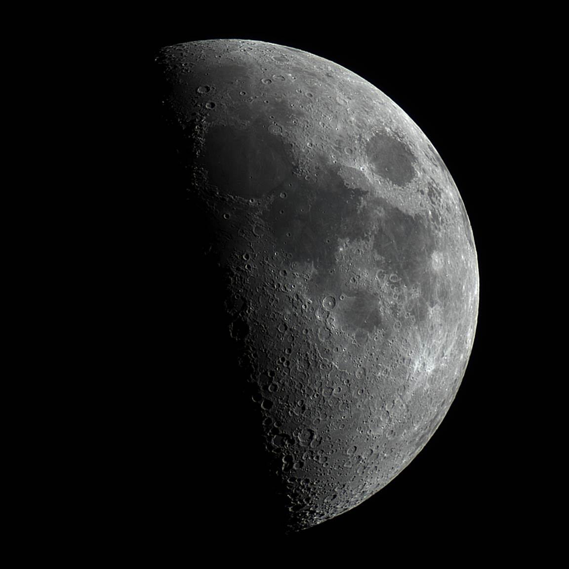 La Luna en fase Cuarto Creciente captada desde Washington, Estados ...