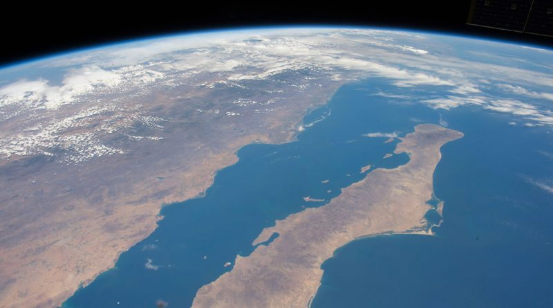 El mar de Cortés y la Península de Baja California desde la ISS