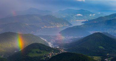 Arcoíris fotografiado desde el monte Lema, Suiza