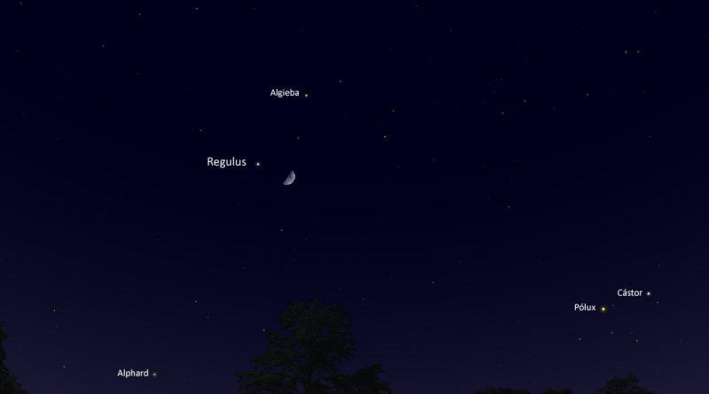 La conjunción de la Luna y la estrella Regulus será visible esta noche