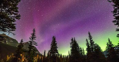 Foto de auroras y la constelación de la Osa Mayor tomada desde Alberta, Canadá