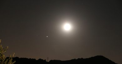 Júpiter y la Luna fotografiados desde Arenys de Munt, Barcelona