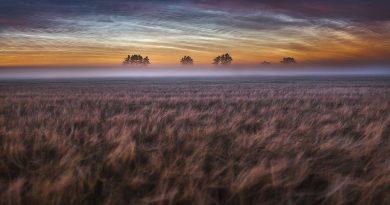 Nubes noctilucentes fotografiadas desde Dinamarca