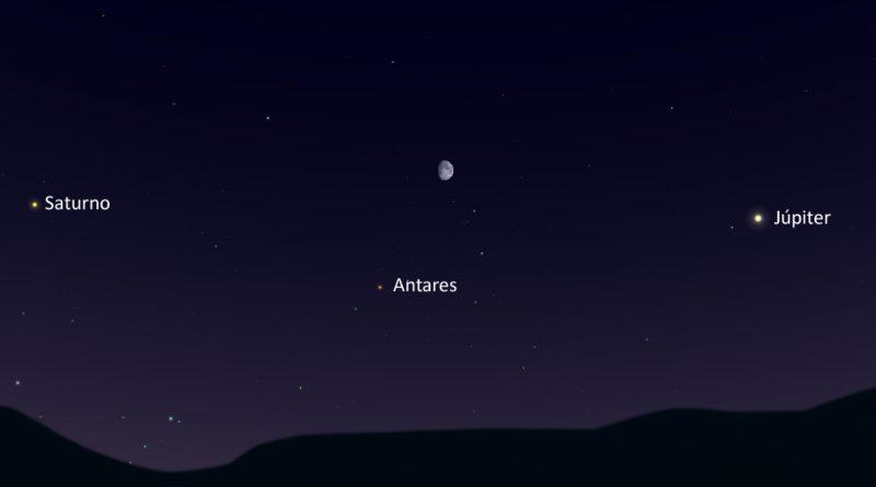 La conjunción de la Luna y la estrella Antares será visible la noche del 22 de julio