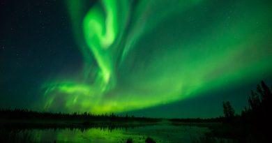Auroras boreales fotografiadas desde la provincia de Alberta, Canadá