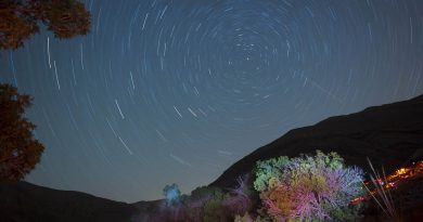 Imagen de rastro de estrellas tomada desde Sorjé, Irán