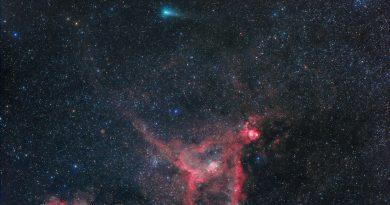 Imagen del Cometa 21P/Giacobini-Zinner y las nebulosas Corazón y Alma