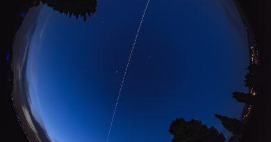 Foto del paso de la ISS tomada desde Grumello del Monte, Italia