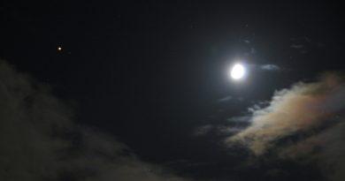 Marte y la Luna fotografiados desde Arenys de Munt, Barcelona
