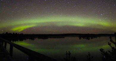 Auroras boreales captadas sobre Inari, Finlandia