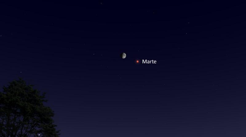 La conjunción de la Luna y Marte será visible esta noche
