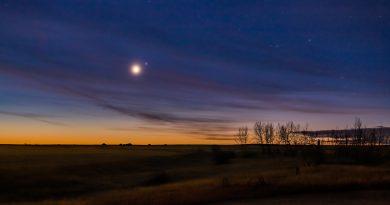 Imagen de Venus y la estrella Spica tomada desde Alberta, Canadá