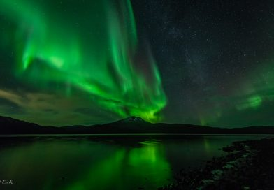 Fotografía de auroras boreales tomada desde Tromsø, Noruega