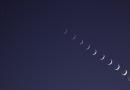 La secuencia de la puesta de la Luna captada desde Tarifa, España