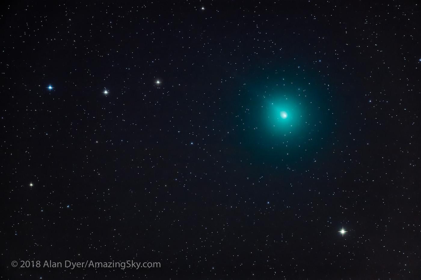 Imagen del Cometa 46P/Wirtanen tomada desde Alberta, Canadá