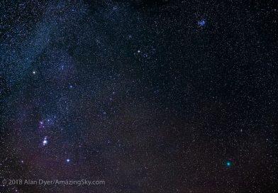 Foto de la constelación de Orión y el Cometa 46P/Wirtanen