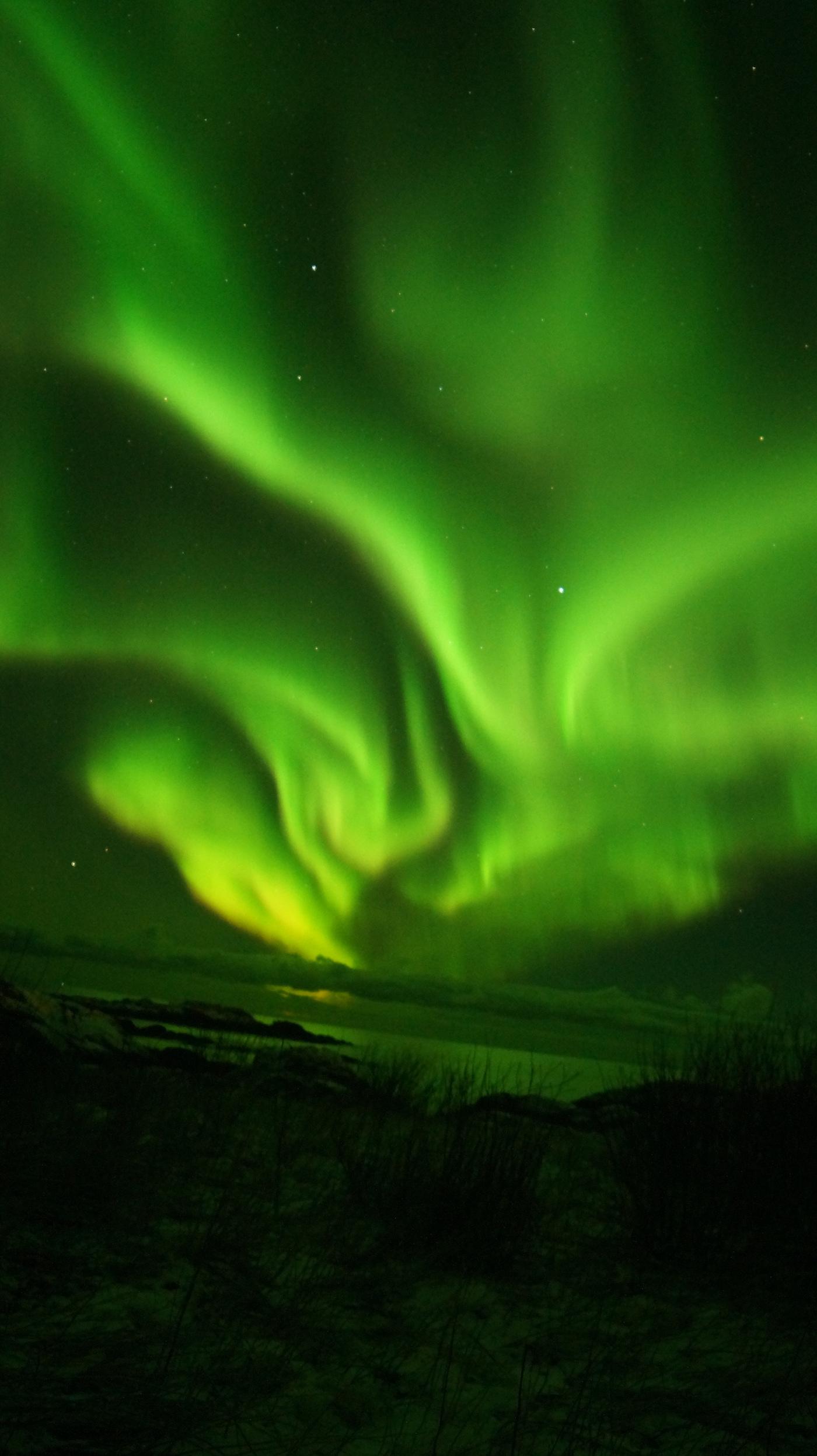 Auroras boreales fotografiadas desde Laukvik, Noruega