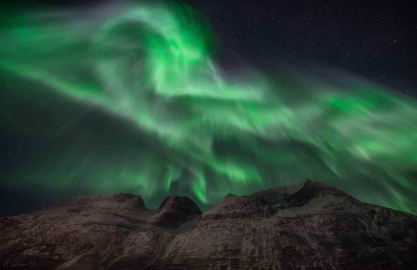 Auroras boreales fotografiadas desde Birtavarre, Noruega