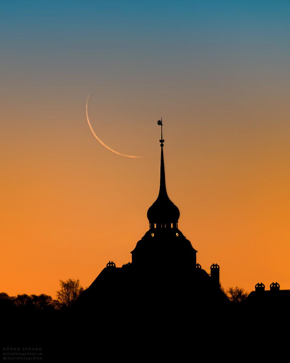 La Luna menguante fotografiada desde Östersund, Suecia
