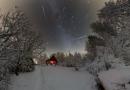 Imagen de gemínidas y la Vía Láctea captadas sobre Ustupky, República Checa