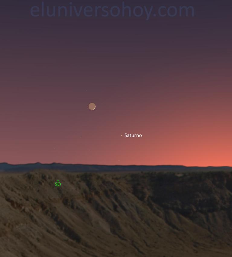 La conjunción de la Luna y Saturno será visible hoy al ocultarse el Sol