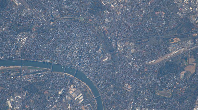 La ciudad de Colonia, Alemania, fotografiada desde la ISS