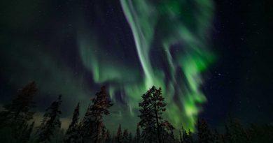 Auroras boreales captadas desde Muonio, Finlandia